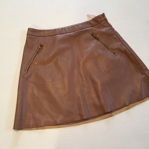 Faux leather tan skirt